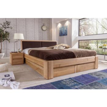 VERONA Bett 160x200 Kernbuche Kopfteil braun mit Bettkasten und Lattenrost