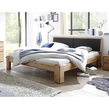 Doppelbett 200x210 cm Überlänge Wildeiche massiv mit Polsterkopfteil schwarz Verona