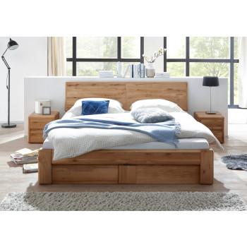 Doppelbett 160x200 cm mit Bettkasten und Lattenrost Wildeiche massiv Verona