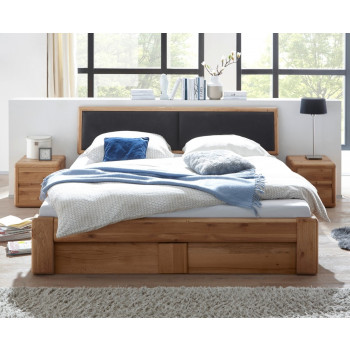 Doppelbett 200x200 cm mit Bettkasten und Lattenrost Wildeiche massiv Verona