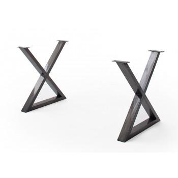 CALVERA Tischgestell X-Form antik gewischt 2er Set