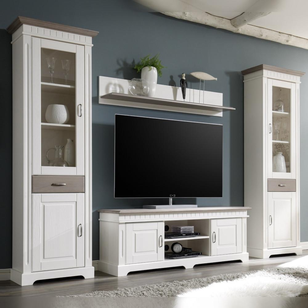 cordoba wohnwand 4 teilig kiefer massiv weiss taupe kaufen m bel shop empinio24. Black Bedroom Furniture Sets. Home Design Ideas