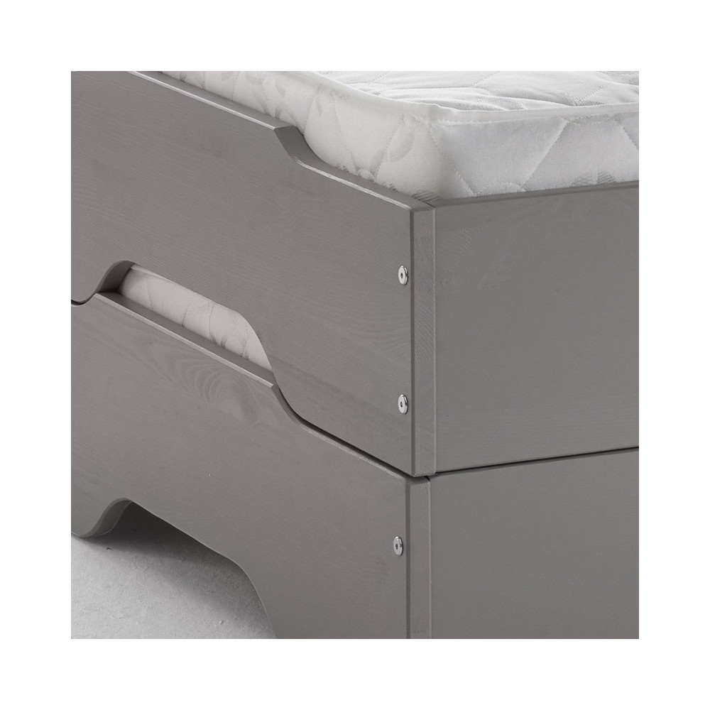 sylt stapelbetten 2x 90x200 kiefer taupe grau 2x. Black Bedroom Furniture Sets. Home Design Ideas