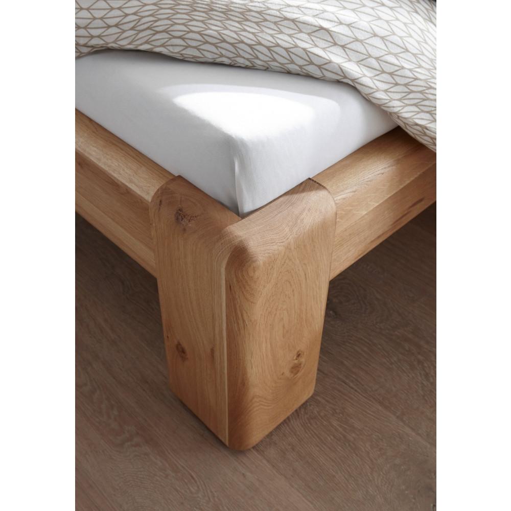 VERONA Bett 160x200 Wildeiche massiv mit gepolstertem Kopfteil ...