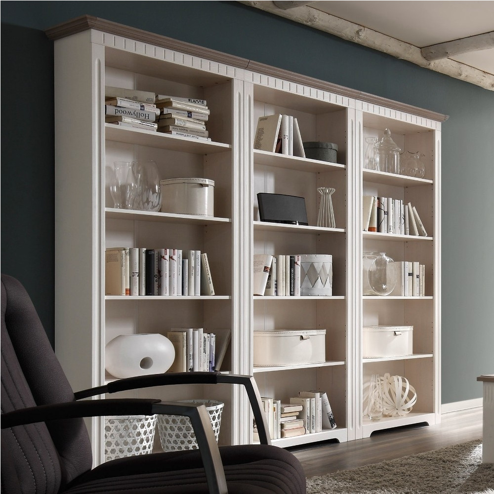 cordoba regal bibliothek 243 cm kiefer massiv wei taupe kaufen m bel shop empinio24. Black Bedroom Furniture Sets. Home Design Ideas