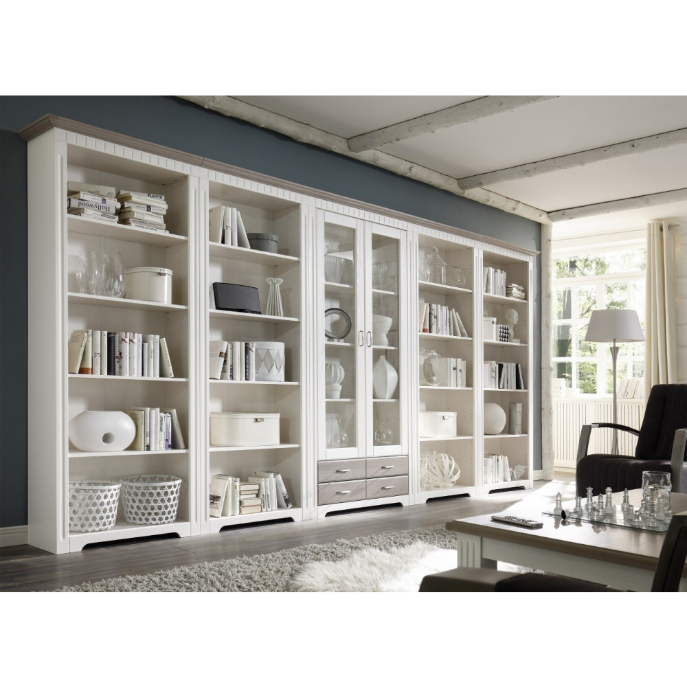 cordoba vitrinenschrank 418 cm kiefer massiv weiss taupe kaufen m bel shop empinio24. Black Bedroom Furniture Sets. Home Design Ideas