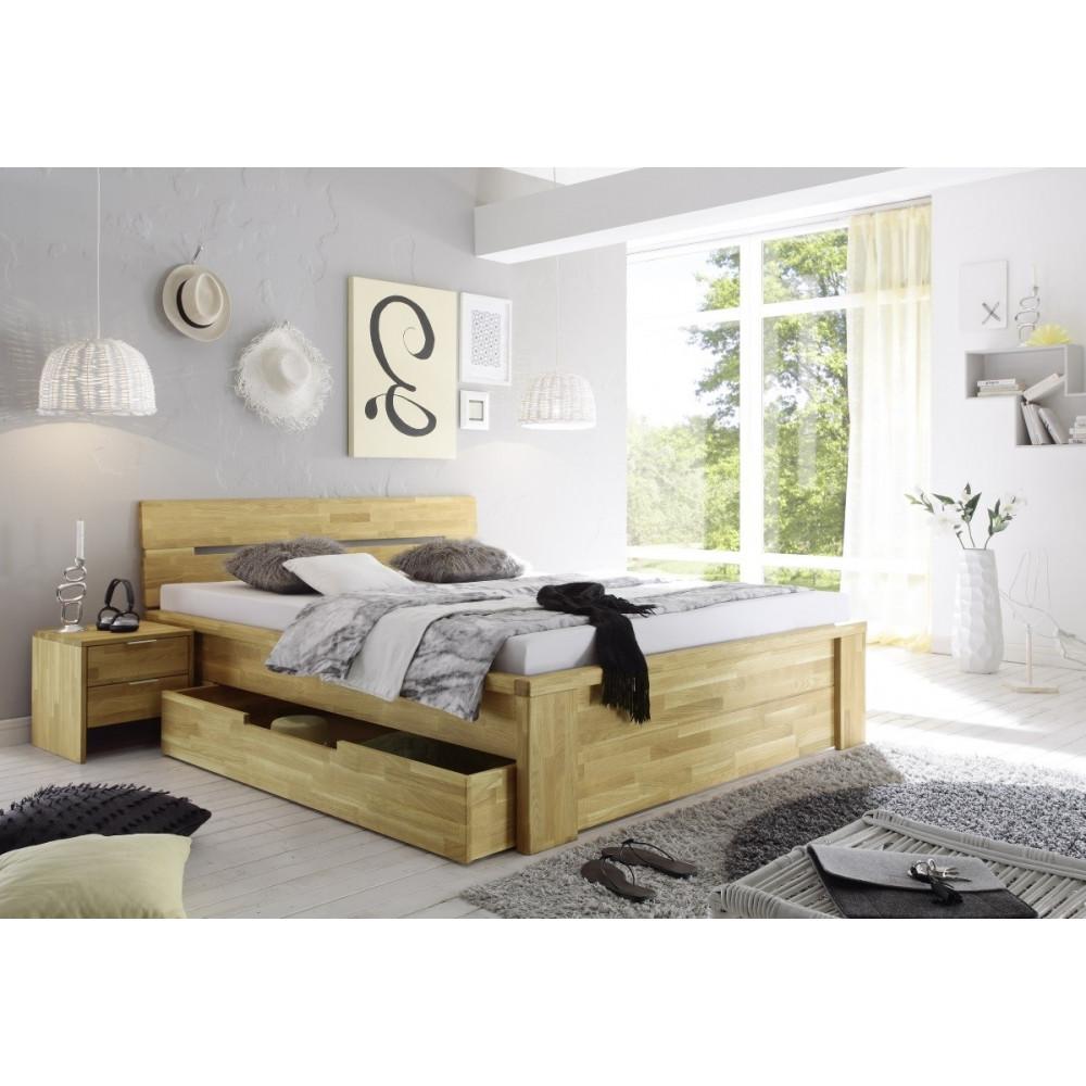 salerno bett mit schubladen 160x200 wildeiche massiv ge lt kaufen m bel shop empinio24. Black Bedroom Furniture Sets. Home Design Ideas