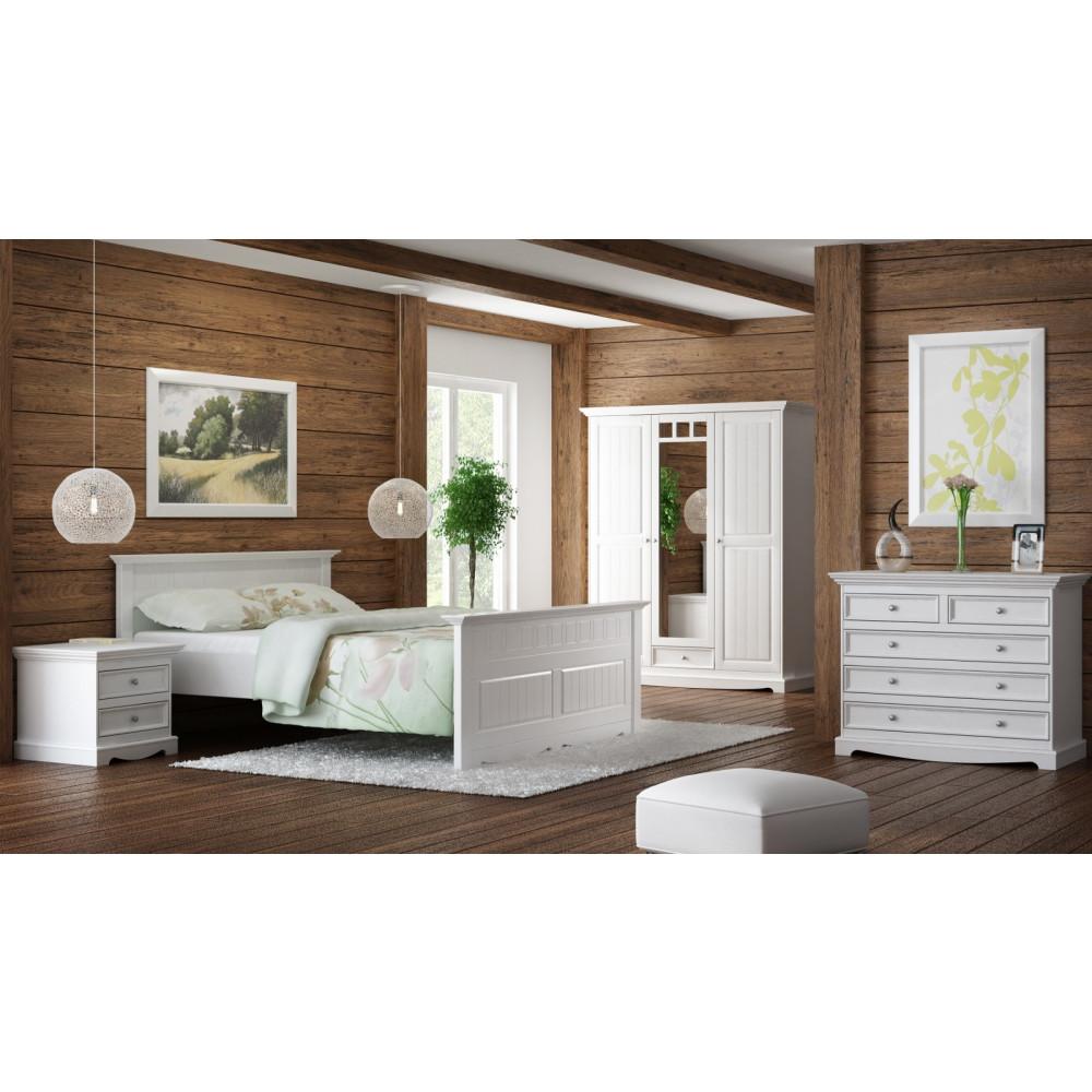 granada bett doppelbett massiv kiefer creme wei 140x200. Black Bedroom Furniture Sets. Home Design Ideas