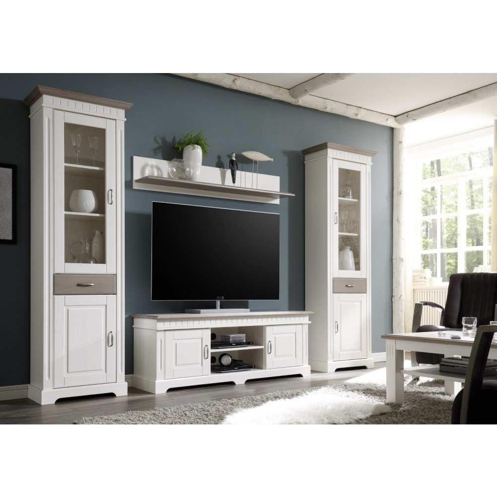 cordoba lowboard 2 trg tv kommode kiefer massiv wei taupe kaufen m bel shop empinio24. Black Bedroom Furniture Sets. Home Design Ideas