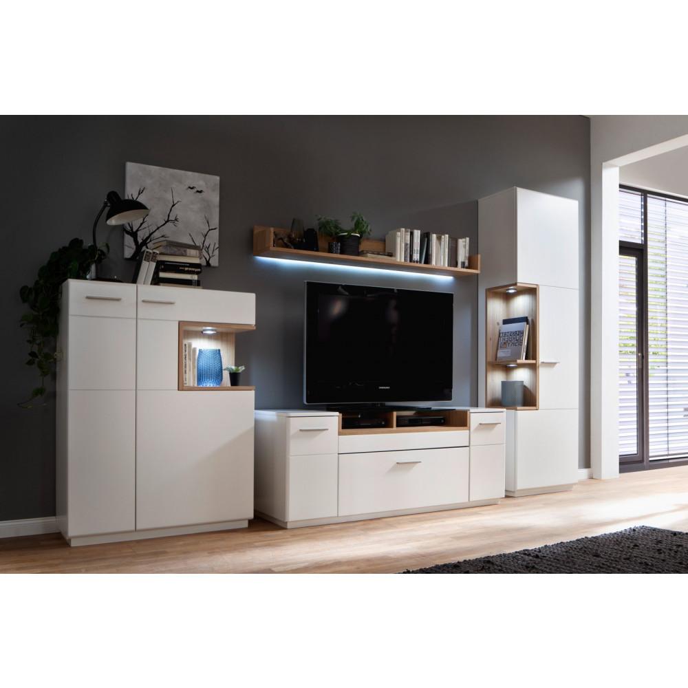 cesina von mca wohnwand nr 11 wei matt asteiche kaufen m bel shop empinio24. Black Bedroom Furniture Sets. Home Design Ideas