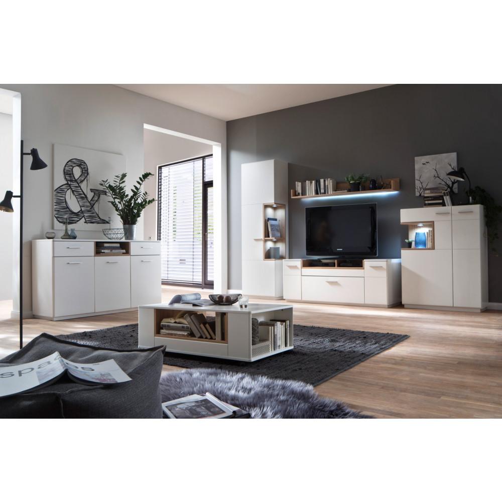cesina von mca wohnwand nr 1 wei matt asteiche kaufen m bel shop empinio24. Black Bedroom Furniture Sets. Home Design Ideas