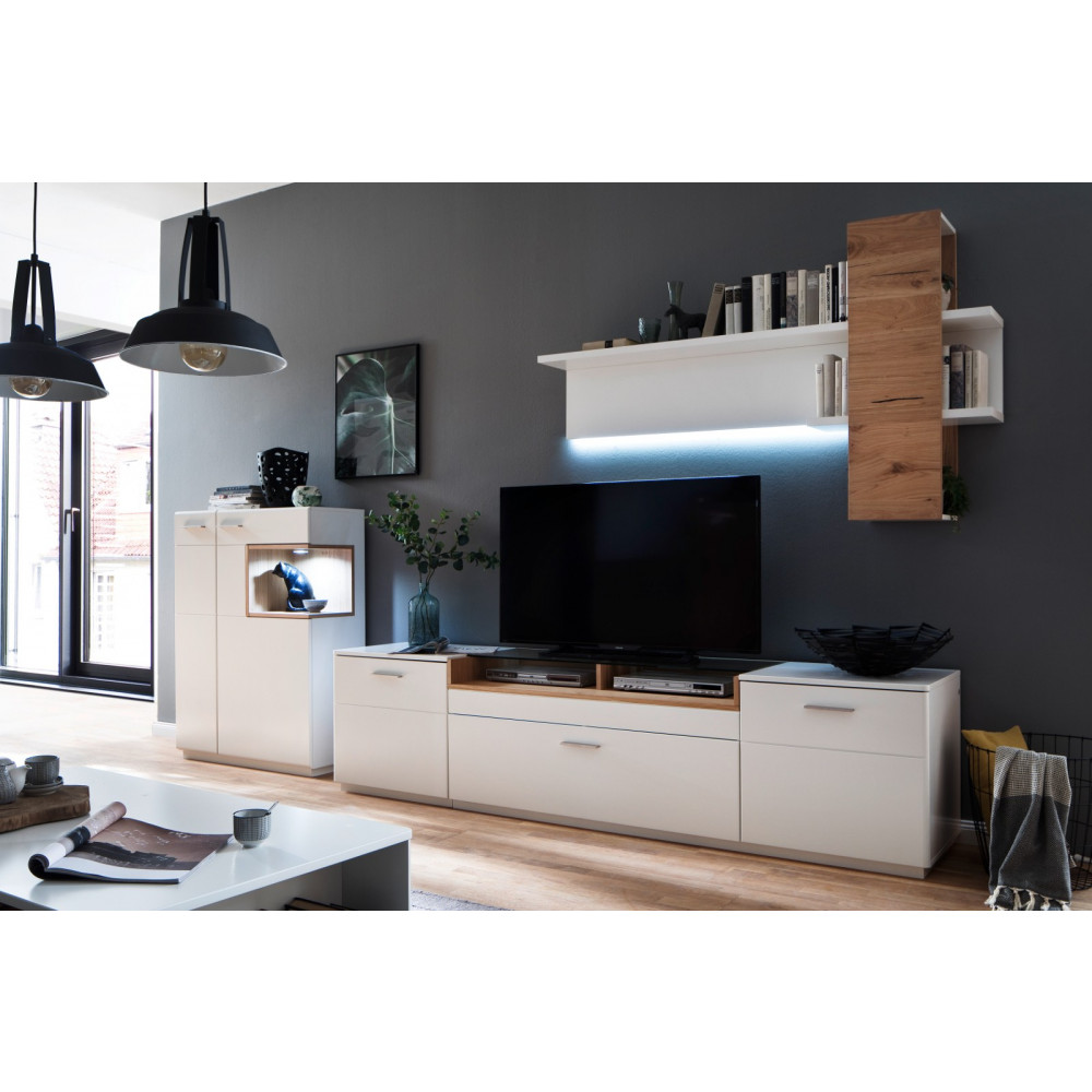 cesina von mca tv lowboard 240 cm 2 trg 1 sk wei matt asteiche kaufen m bel shop empinio24. Black Bedroom Furniture Sets. Home Design Ideas
