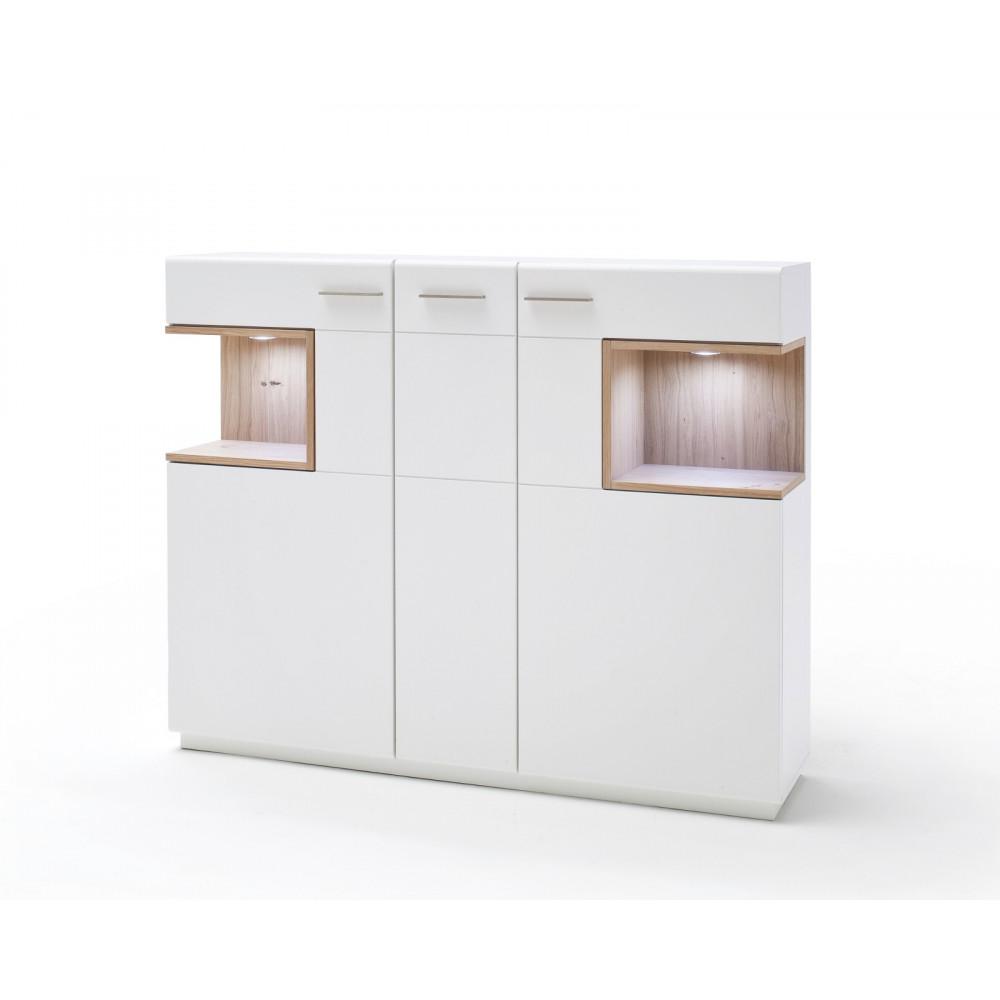 cesina von mca highboard 3 trg wei matt asteiche kaufen m bel shop empinio24. Black Bedroom Furniture Sets. Home Design Ideas