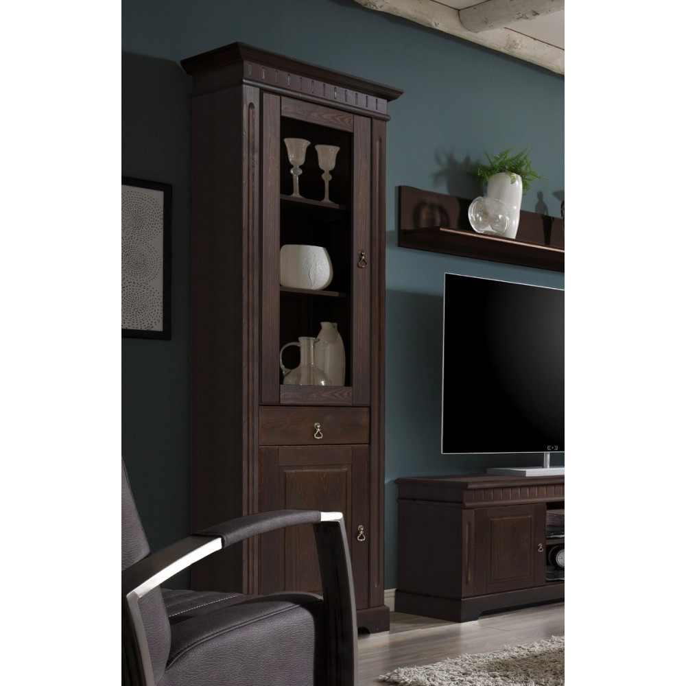 cordoba vitrine 2 trg links kiefer massiv kolonial kaufen m bel shop empinio24. Black Bedroom Furniture Sets. Home Design Ideas