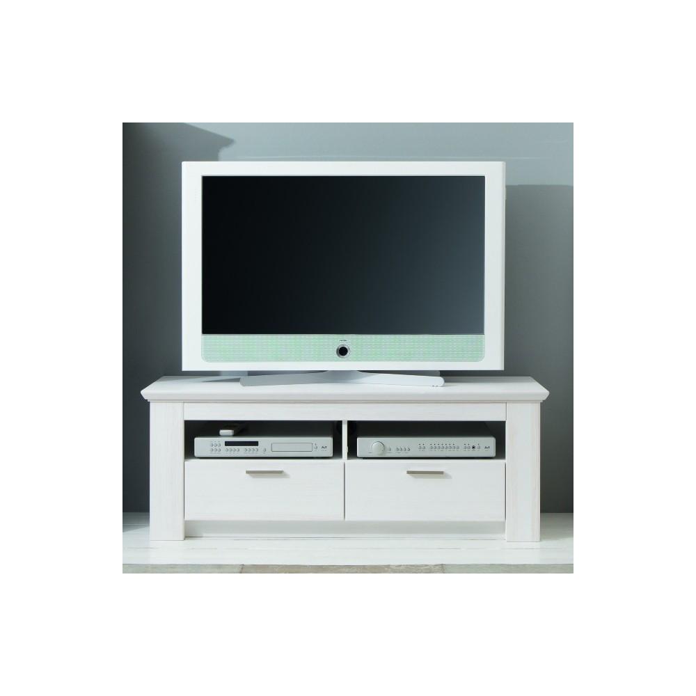 1 X COUNTRY TV Unterteil Lowboard 129 Cm Pinie Weiß Gebürstet Teilmassiv