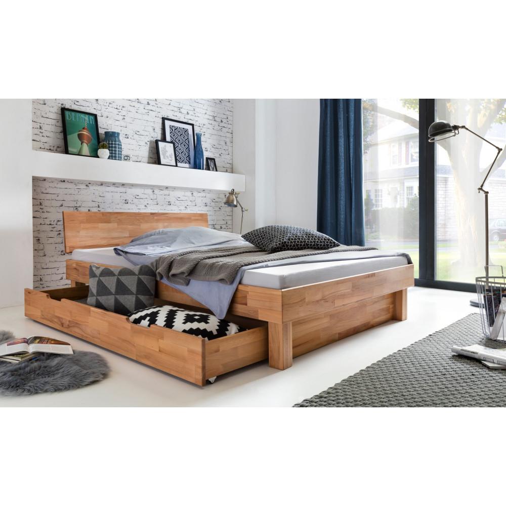 celine bett 140x200 mit bettschublade kernbuche massiv. Black Bedroom Furniture Sets. Home Design Ideas