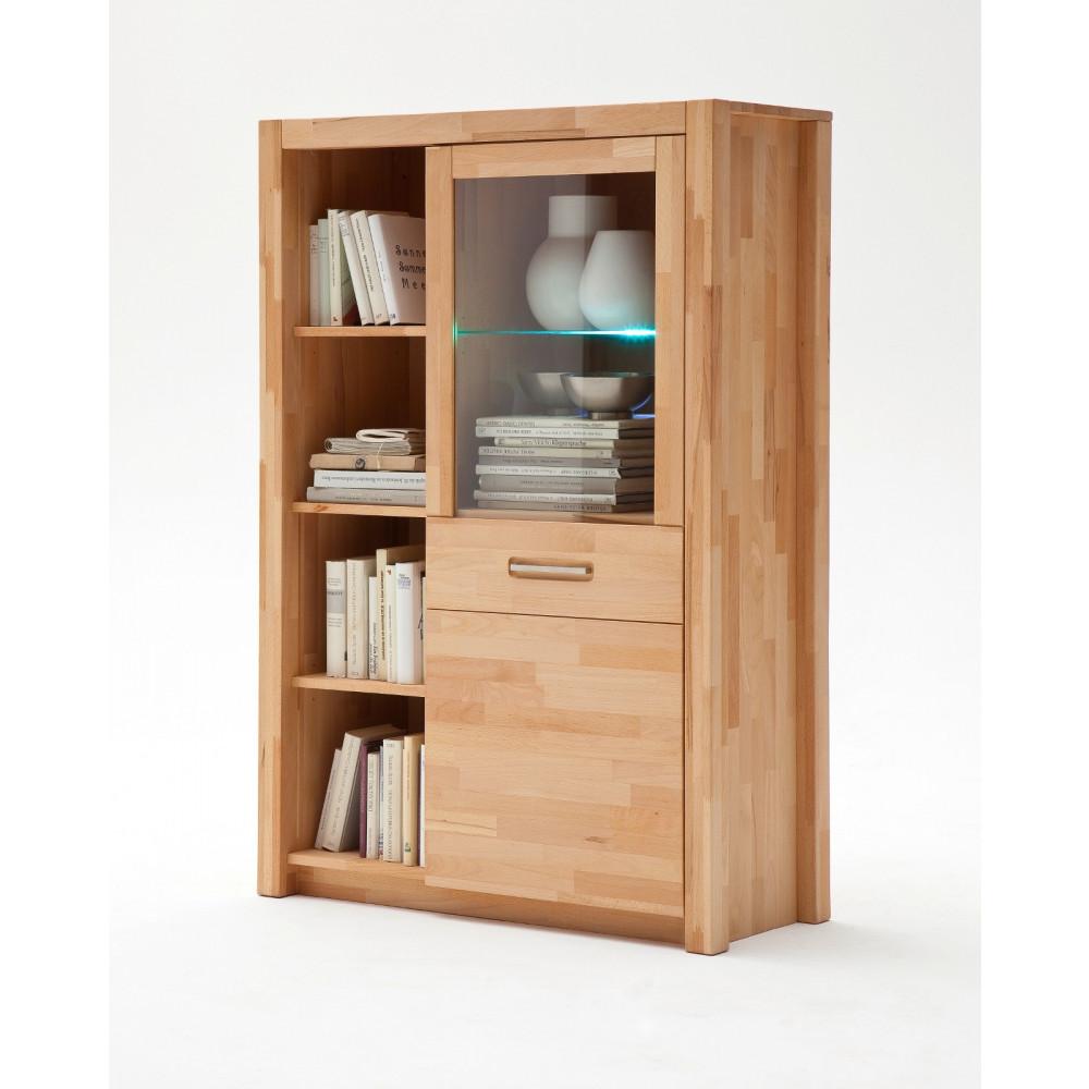faro kombi highboard 1 trg kernbuche massiv mit beleuchtung kaufen m bel shop empinio24. Black Bedroom Furniture Sets. Home Design Ideas