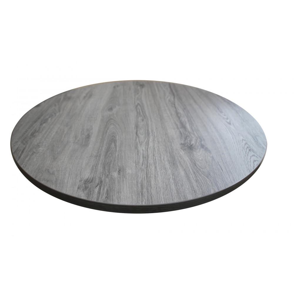 1 X NIZZA Gastro Tischplatte Rund 80 Cm Eiche Grau NB