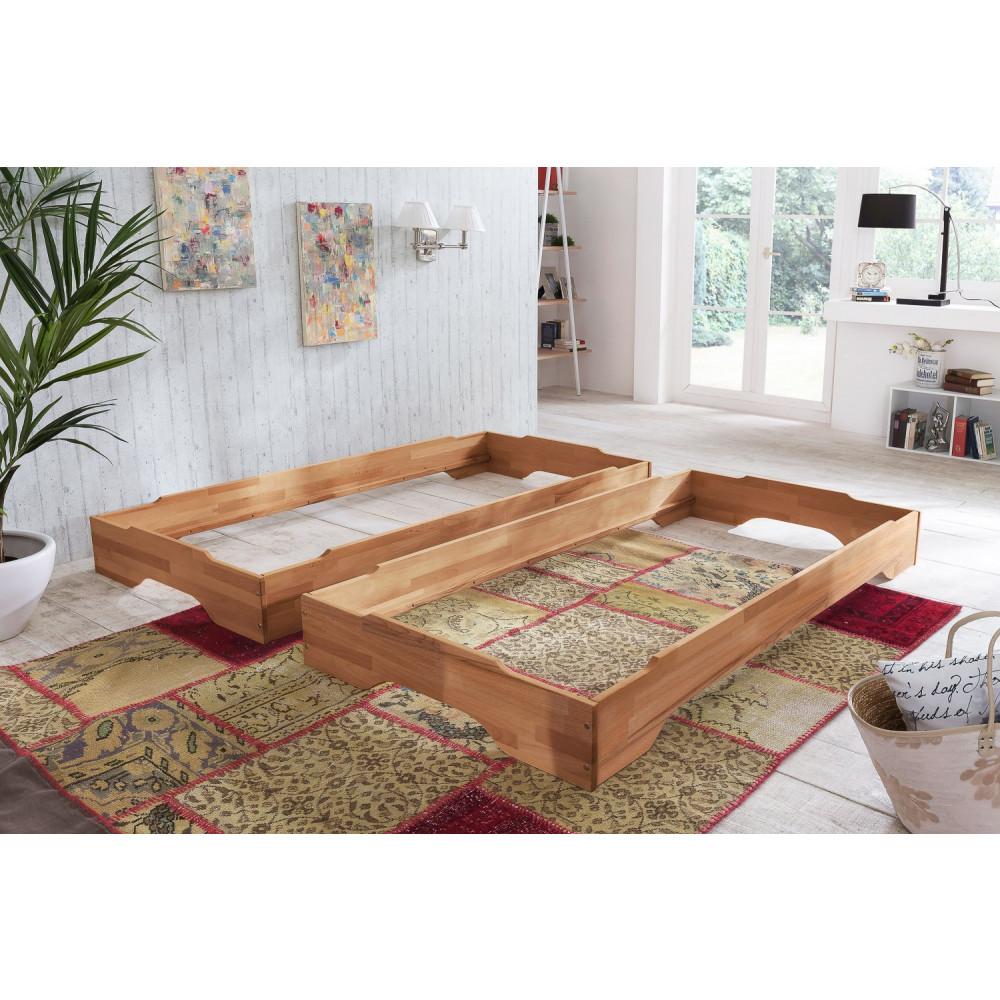 juist stapelbetten 2x 90x200 kernbuche 2x tfk matratzen. Black Bedroom Furniture Sets. Home Design Ideas