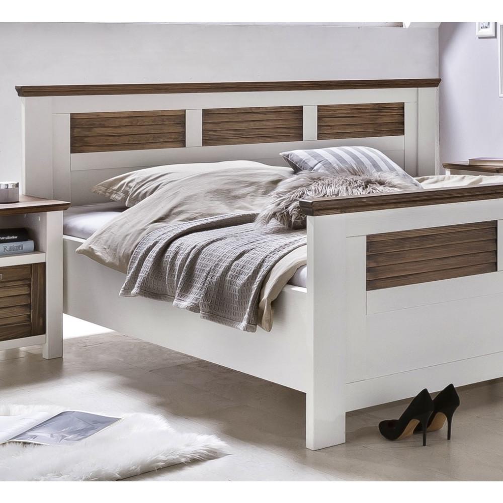 laguna doppelbett 160x200 pinie teilmassiv wei braun kaufen m bel shop empinio24. Black Bedroom Furniture Sets. Home Design Ideas