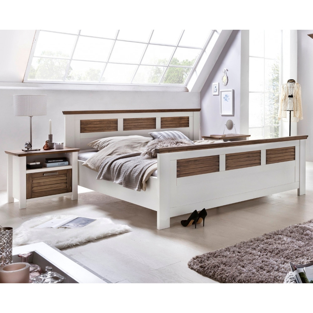 laguna schlafzimmer set mit schrank 5 trg bett 200x200 pinie teilmassiv wei braun kaufen. Black Bedroom Furniture Sets. Home Design Ideas