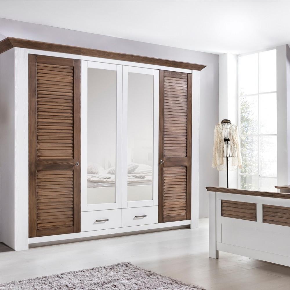 laguna schlafzimmer set mit schrank 4 trg bett 180x200 pinie teilmassiv wei braun kaufen. Black Bedroom Furniture Sets. Home Design Ideas
