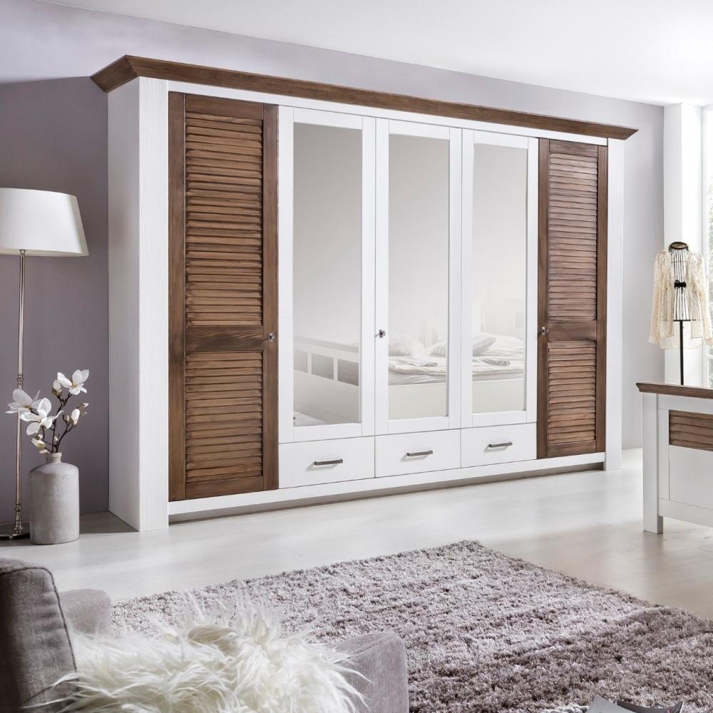 ... LAGUNA Schlafzimmer Set Mit Schrank 5 Trg Bett 180x200 Pinie Teilmassiv  Weiß Terra Gewischt ...
