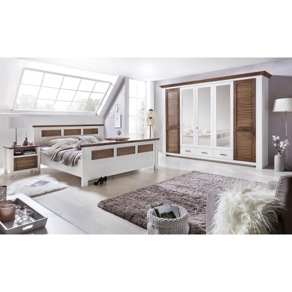 laguna schlafzimmer set mit schrank 5 trg bett 200x200 pinie teilmassiv wei braun kaufen. Black Bedroom Furniture Sets. Home Design Ideas