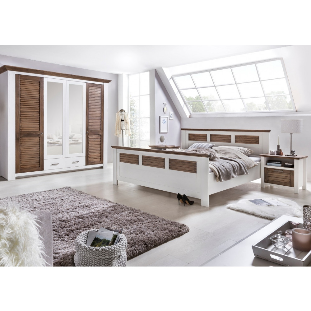 laguna schlafzimmer set mit schrank 4 trg bett 180x200 pinie teilmassiv wei braun kaufen. Black Bedroom Furniture Sets. Home Design Ideas