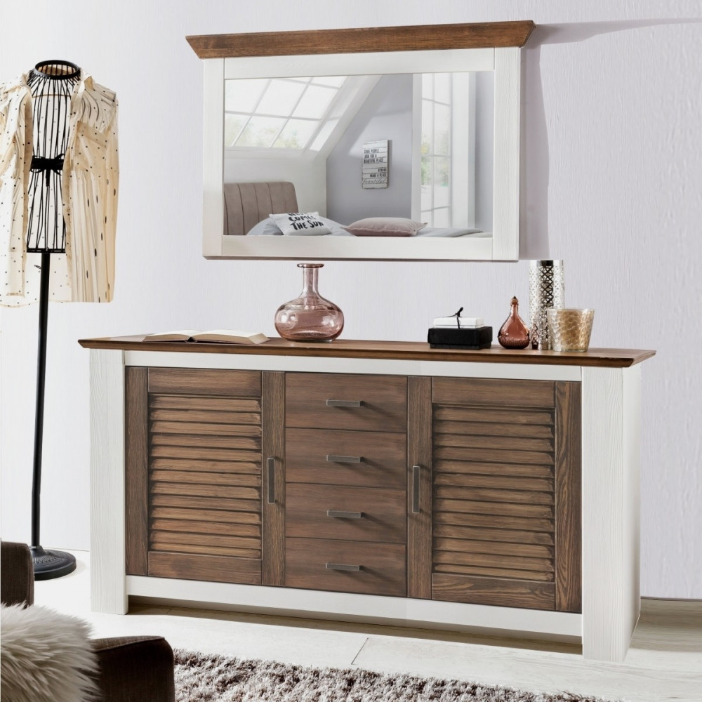 laguna sideboard 2 trg 4 sk pinie teilmassiv wei braun kaufen m bel shop empinio24. Black Bedroom Furniture Sets. Home Design Ideas