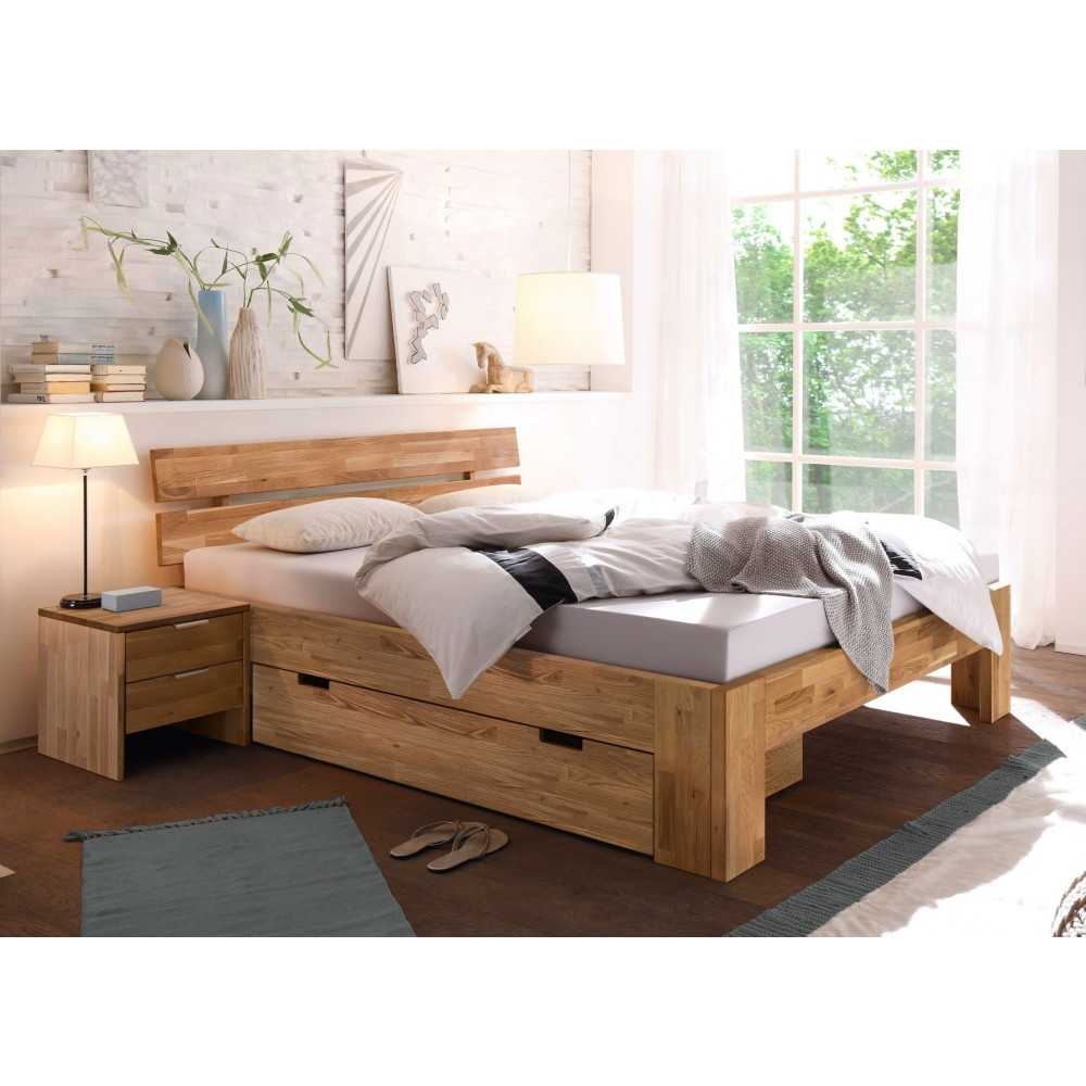 lena 2 doppelbett 160x200 mit bettschublade und 2 nachtkommoden wildeiche massiv ge lt kaufen. Black Bedroom Furniture Sets. Home Design Ideas