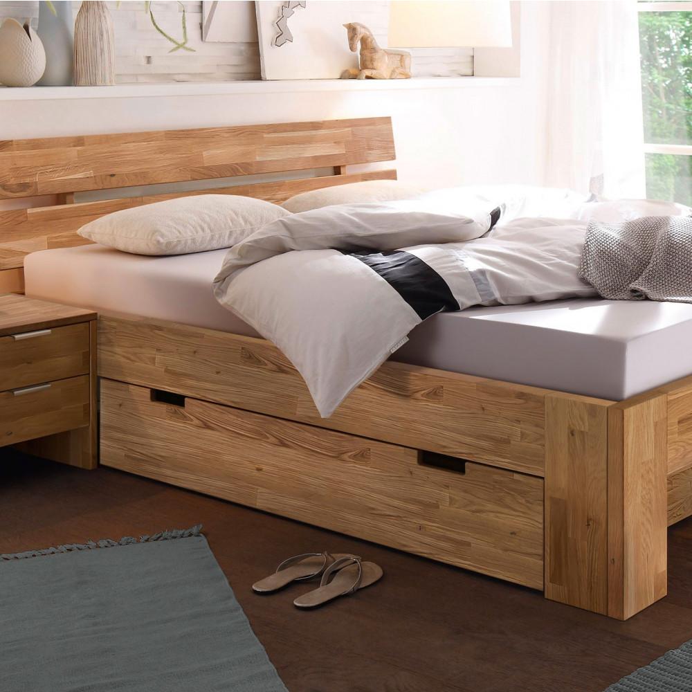 lena 2 doppelbett 180x200 mit bettschublade wildeiche massiv ge lt kaufen m bel shop empinio24. Black Bedroom Furniture Sets. Home Design Ideas