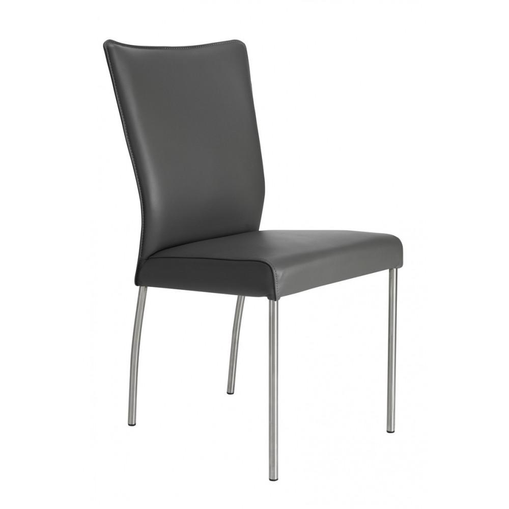 lenard polsterstuhl in echtleder leder beine aus edelstahl. Black Bedroom Furniture Sets. Home Design Ideas