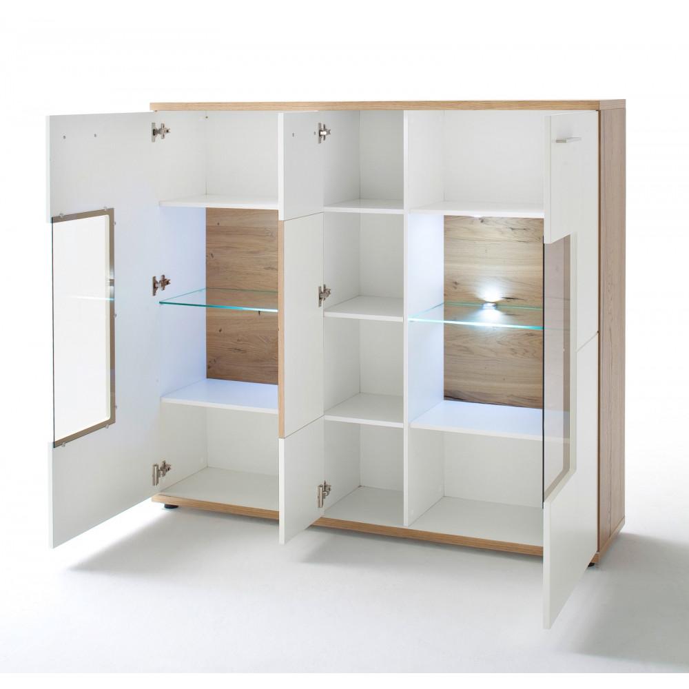 nizza von mca highboard 3 trg wei matt crackeiche kaufen m bel shop empinio24. Black Bedroom Furniture Sets. Home Design Ideas