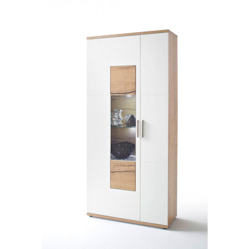 nizza von mca vitrine 2 trg wei matt crackeiche kaufen m bel shop empinio24. Black Bedroom Furniture Sets. Home Design Ideas