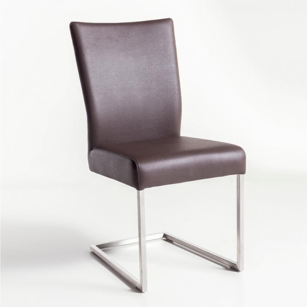 Qiara freischwinger stuhl echtleder edelstahl kaufen for Stuhl edelstahl
