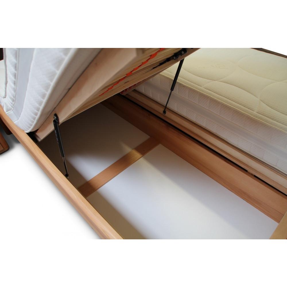 verona bett 160x200 kernbuche kopfteil braun mit bettkasten und lattenrost kaufen m bel shop. Black Bedroom Furniture Sets. Home Design Ideas