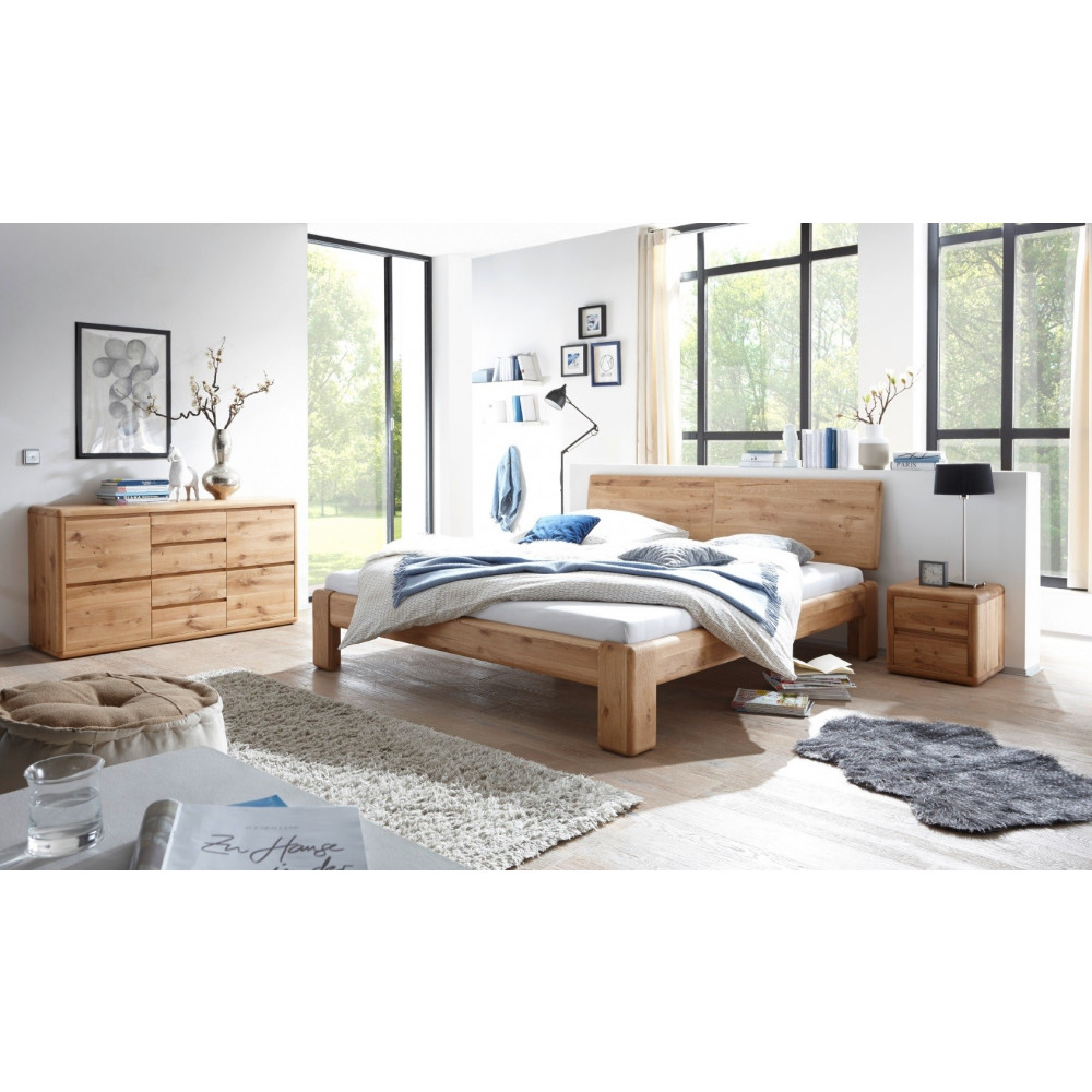 verona bett 200x200 wildeiche massiv mit bettkasten und. Black Bedroom Furniture Sets. Home Design Ideas