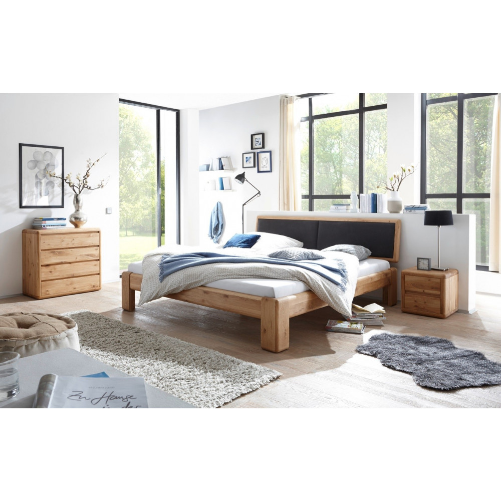 verona bett 200x200 wildeiche kopfteil schwarz mit bettkasten und lattenrost kaufen m bel shop. Black Bedroom Furniture Sets. Home Design Ideas