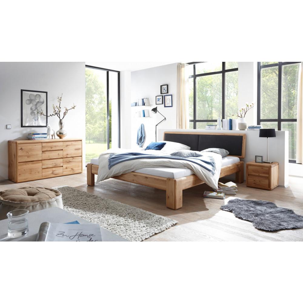 verona bett 160x200 wildeiche massiv mit gepolstertem kopfteil schwarz kaufen m bel shop empinio24. Black Bedroom Furniture Sets. Home Design Ideas