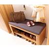 Garderobenbank mit Ablageboden und Sitzkissen aus Kernbuche teilmassiv NOVARA