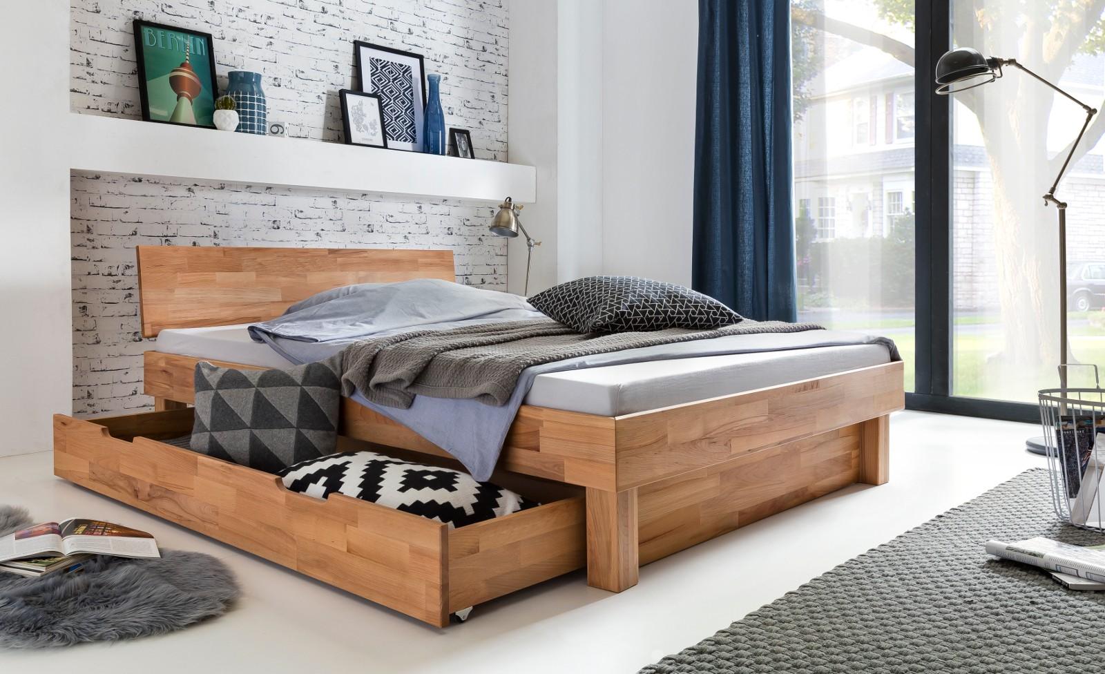 CELINE Doppelbett 180x200 mit Bettschublade Kernbuche massiv geölt | Schlafzimmer > Betten > Doppelbetten | Massiver - Geölt - Holz | Empinio24