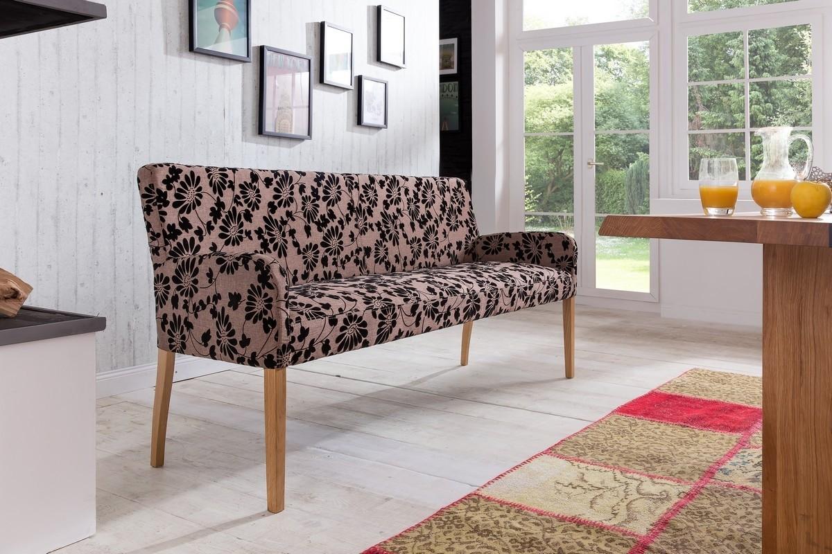 ALFO Polsterbank Sitzbank 123 cm Stoff / Textil Beine aus Buche oder Eiche