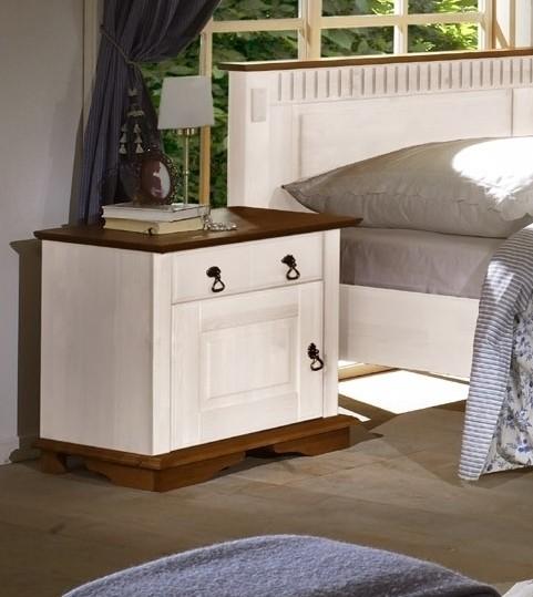 Empinio24 Nachttisch SEVILLA  Farbe Weiß Kiefer Massivholz Breite 54 cm   Schlafzimmer > Nachttische   Weiß   Kiefer   Empinio24