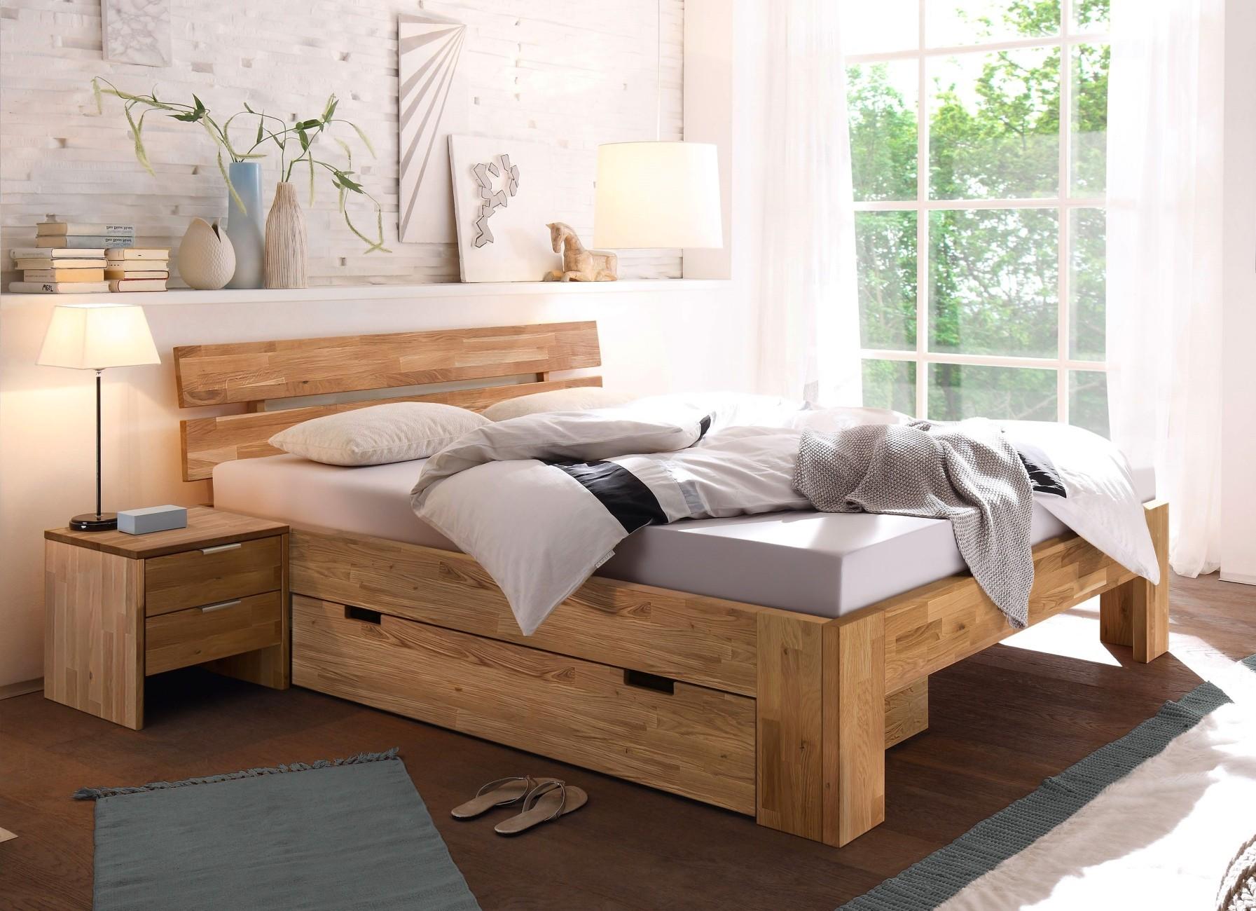 LENA-2 Doppelbett 200x200 mit Bettschublade und 2 Nachtkommoden Wildeiche massiv | Schlafzimmer > Betten > Doppelbetten | Massiver - Geölt - Holz | Empinio24