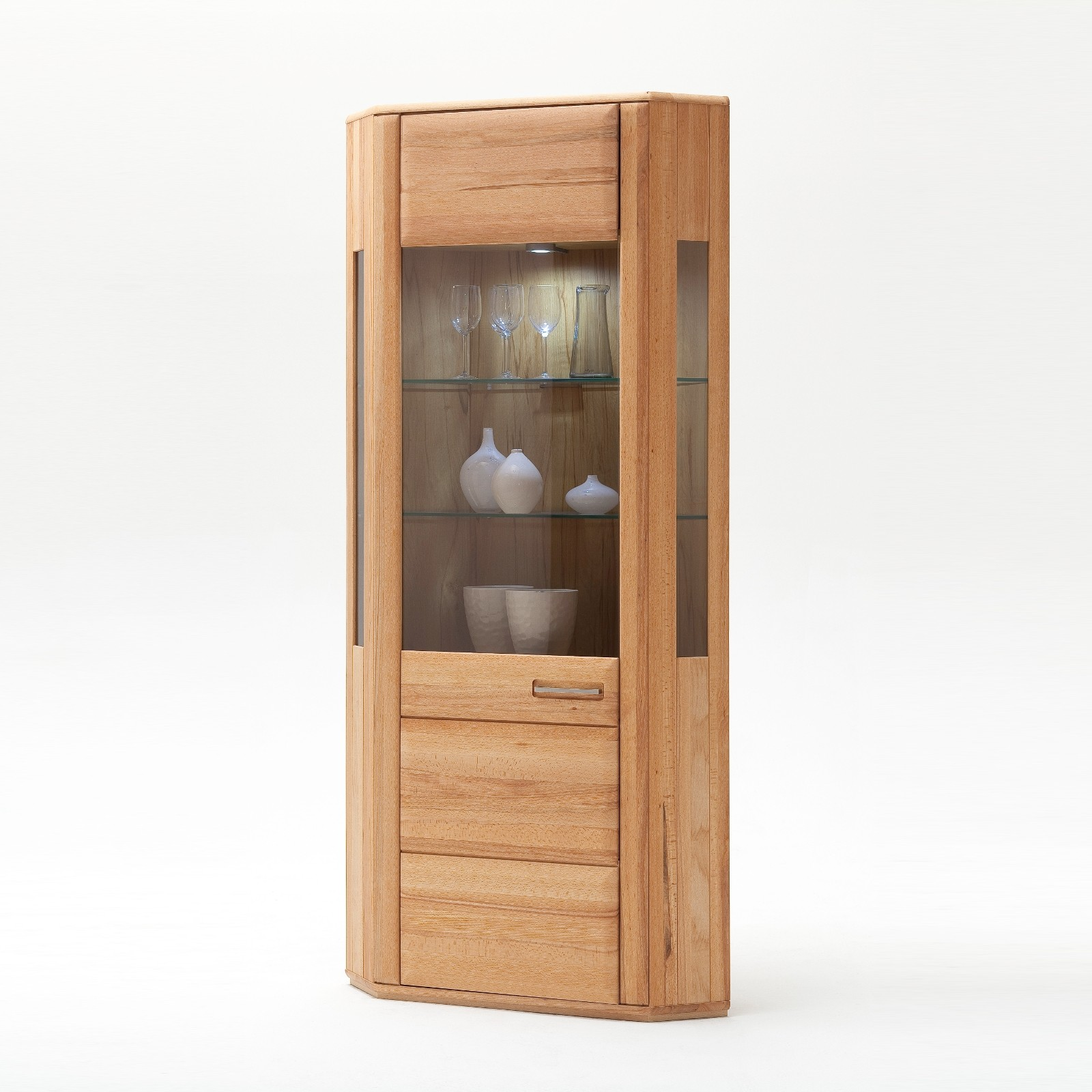 SENA von MCA Eck-Vitrine Kernbuche geölt teilmassiv | Wohnzimmer > Vitrinen > Eckvitrinen | Kernbuche - Massiv - Furniert - Holz - Glas | MCA furniture