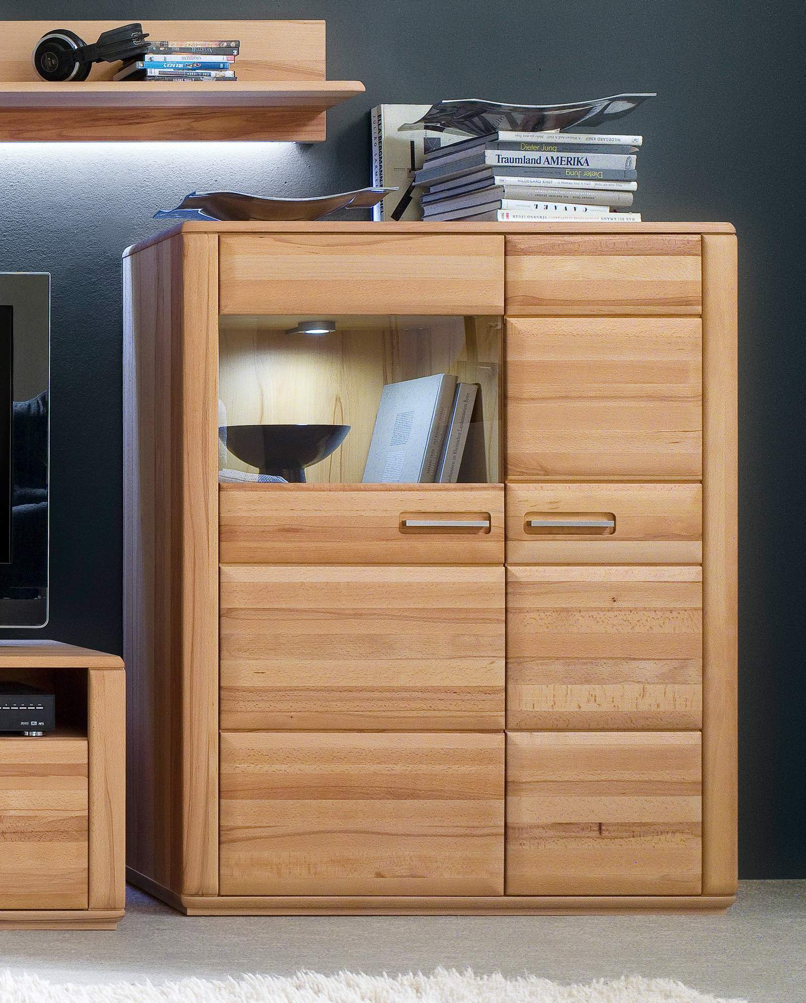 Highboard Kernbuche 107 cm rechts Sena MCA furniture | Wohnzimmer > Schränke > Highboards | MCA furniture