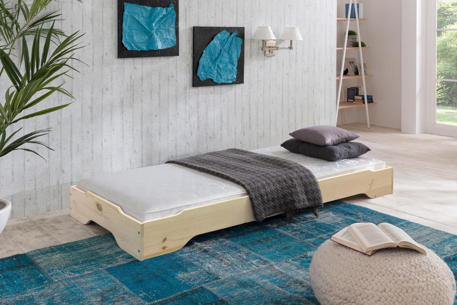SYLT Stapelbett 90x200 Gästebett Kiefer massiv Natur | Schlafzimmer > Betten > Gästebetten | Kiefer - Lackiert - Massivholz | Empinio24