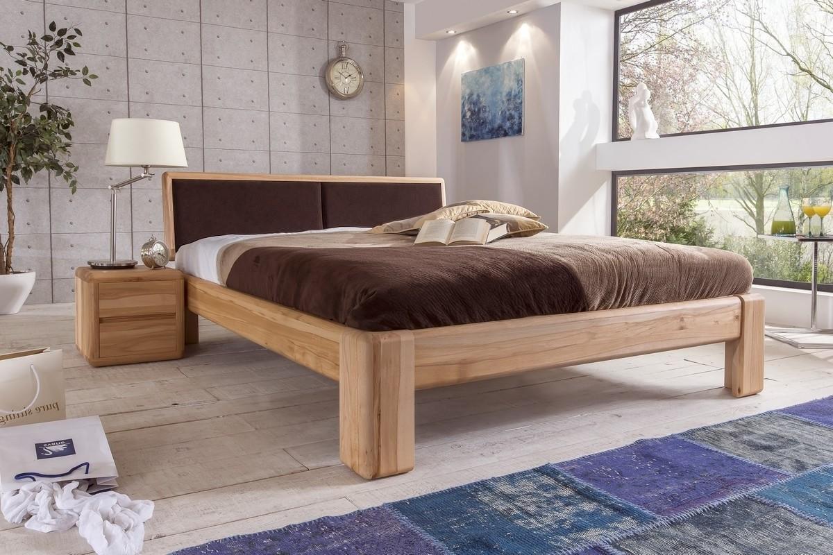 VERONA Doppelbett 160x220 Kernbuche mit gepolstertem Kopfteil braun Überlänge | Schlafzimmer > Betten > Doppelbetten | EMPINIO24